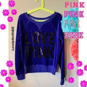 Victoria's Secret Pink Velour Pullover Size SMALL